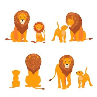 Família de safári de leão e filho.