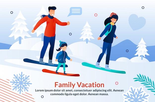 Família de snowboard na ilustração de estância de esqui de montanha
