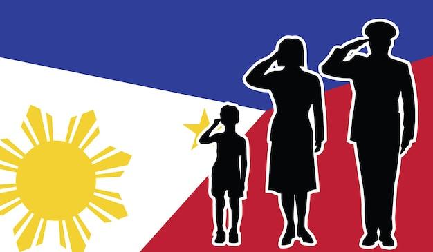 Família de soldado das filipinas saudando fundo patriota