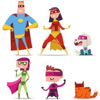 Família de super-heróis com criança, gato e cachorro.