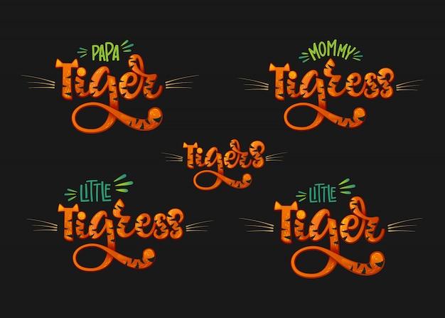 Família de tigres definir mão de cor desenhar texto de letras caligrafia