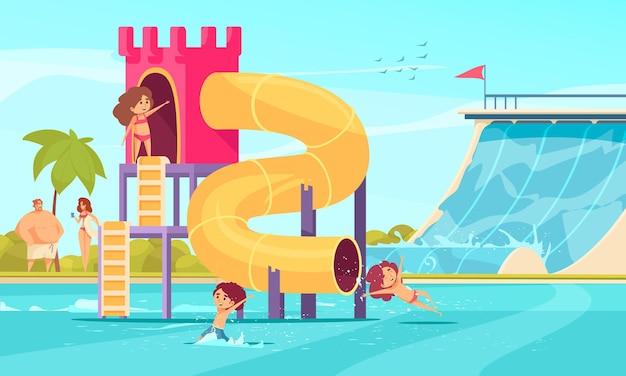 Família de tubo alto e toboáguas em parque aquático de diversões