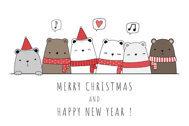 Família de ursinho fofo polar comemorando feliz natal e feliz ano novo