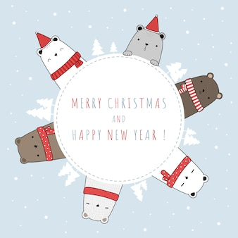 Família de ursinho fofo polar saudação feliz natal e feliz ano novo cartão de doodle dos desenhos animados