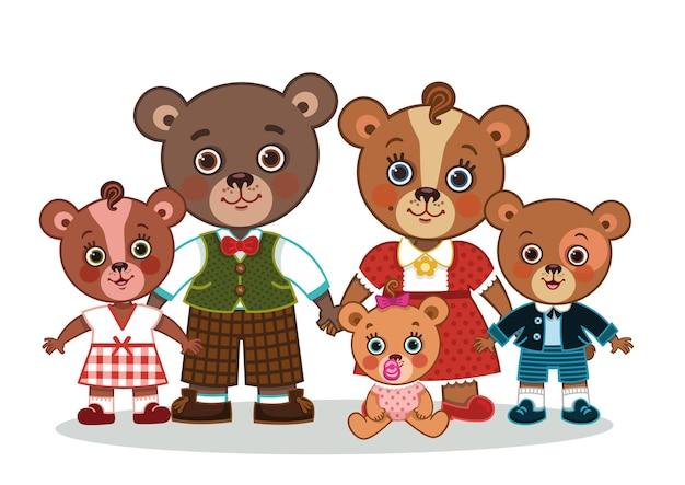 Família de urso bonito dos desenhos animados olhando para a câmera.