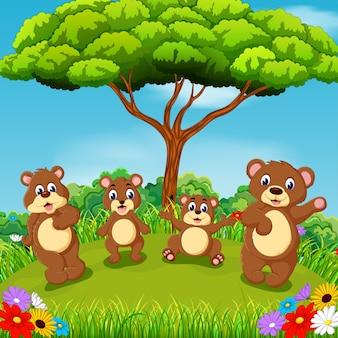Família de urso com fundo lindo cenário