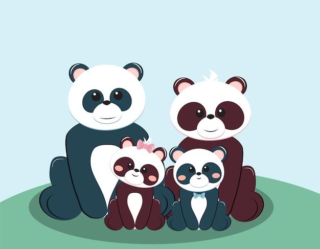 Família de urso panda com mãe pai menino e menina ilustração em vetor do conceito de cartão de felicitações