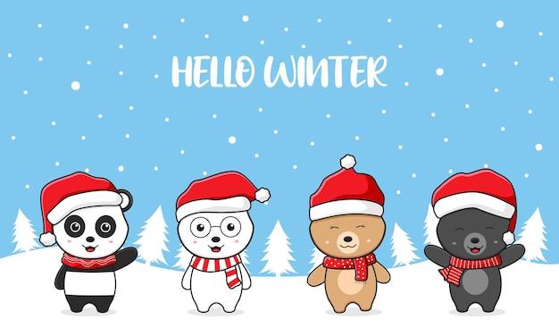 Família de urso polar de pelúcia fofo cumprimentando olá, inverno, natal, desenho, cartão, doodle, ilustração