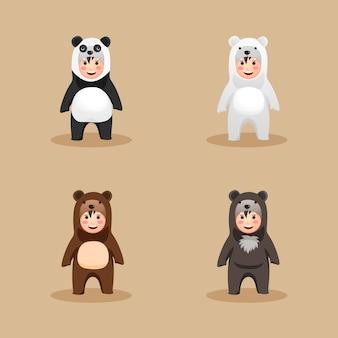 Família de ursos de fantasia fofa