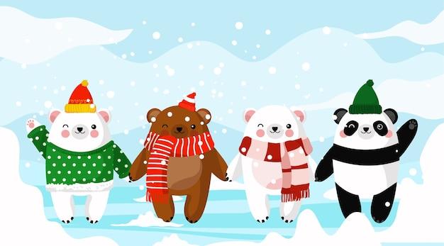 Família de ursos fofos e panda no inverno