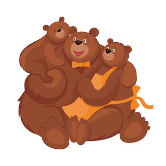 Família de ursos - pai, mãe e filho em estilo cartoon.