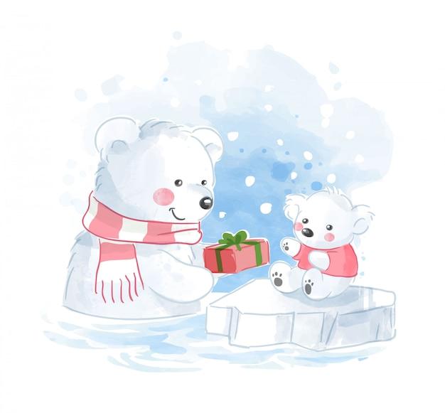 Família de ursos polares com ilustração presente