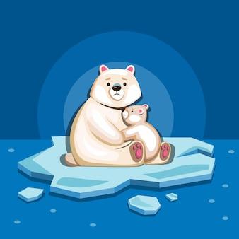 Família de ursos polares no gelo se reduz ao mar ártico.