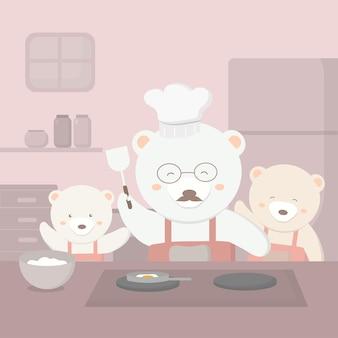 Família de ursos se preparando para a festa do dia dos pais pai urso vai para a cozinha cozinhar para o dia dos pais