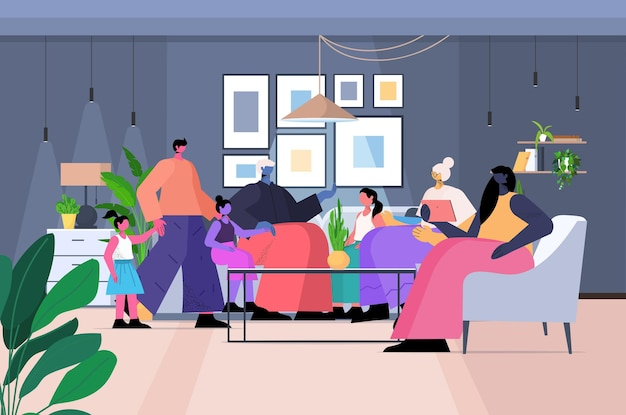 Família de várias gerações, avós felizes, pais e filhos passando um tempo juntos no interior da sala de estar