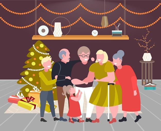 Família de várias gerações, juntos, feliz natal, feriado de inverno, celebração, conceito, moderna, sala de estar, interior, apartamento completo, horizontal, vetorial