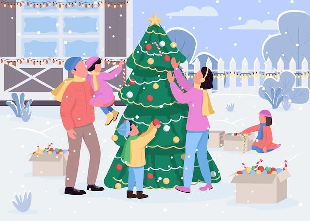 Família decorando a árvore de natal com ilustração em cores planas