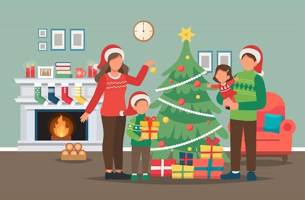 Família decorando a árvore de natal em casa, ilustração