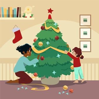 Família decorando a árvore de natal juntos ilustrados