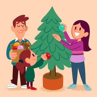 Família decorando a árvore de natal