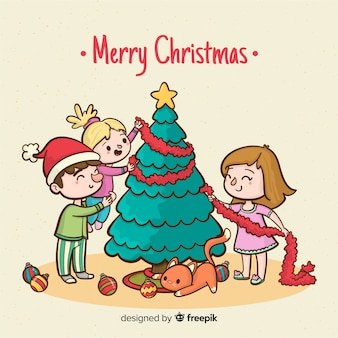 Família, decorando, natal árvore natal, fundo