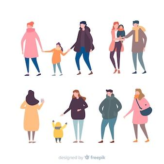 Família definida em cores suaves