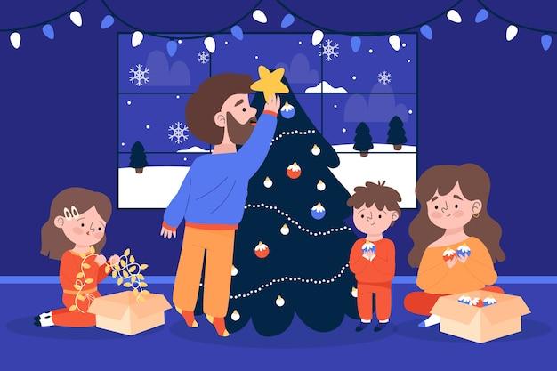 Família dentro de casa, decorando a árvore inverno temporada plano de fundo