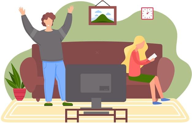 Família descansando em casa com a tv