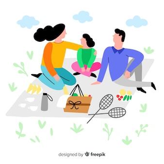 Família desenhada mão, tendo uma ilustração de piquenique
