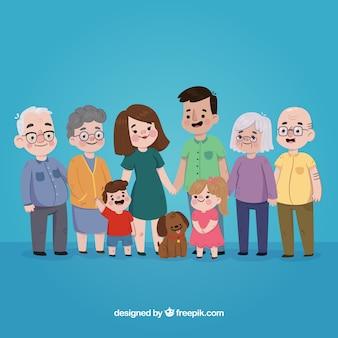 Família desenhada mão