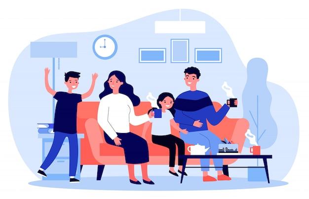 Família desfrutando de chá e sobremesa