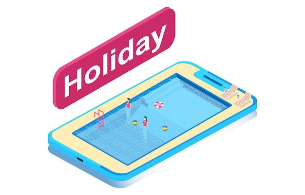 Família, desfrutando, verão, férias