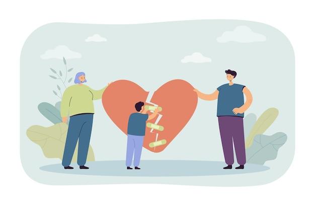 Família divorciada se reunindo novamente. homem e mulher segurando pedaços de coração partido, garotinho tentando prender com band-aids.