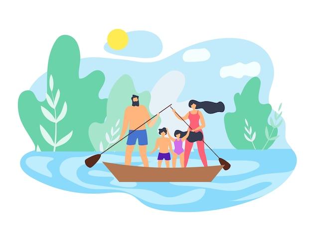 Família do fim de semana do verão no vetor bonito do lago.