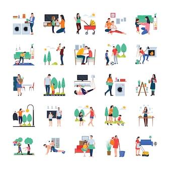 Família, dona de casa, família caminhando ícones planas ao ar livre