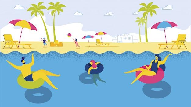 Família dos desenhos animados, relaxando no anel flutuante no mar