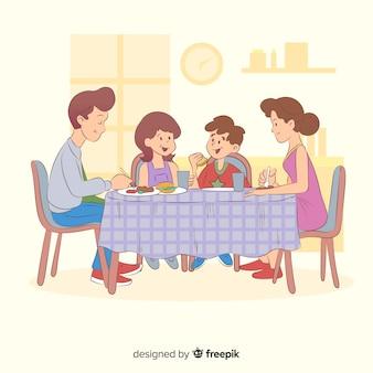 Família dos desenhos animados, sentados ao redor da ilustração da mesa