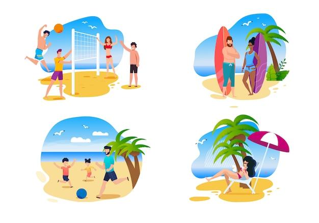 Família e amigos atividades de verão na praia