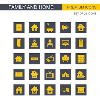 Família e casa ícones set vector