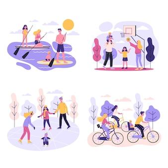 Família e conjunto de atividades esportivas. pista de patinação no gelo e campo de futebol, andar de bicicleta no parque. atividade ao ar livre. ilustração