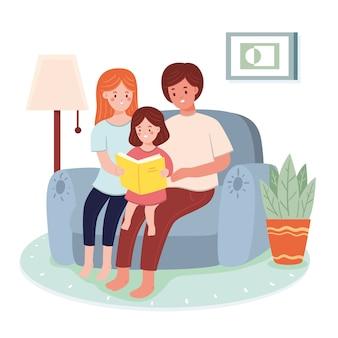 Família e criança, aproveitando o tempo juntos