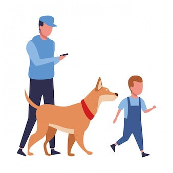 Família e crianças dos desenhos animados