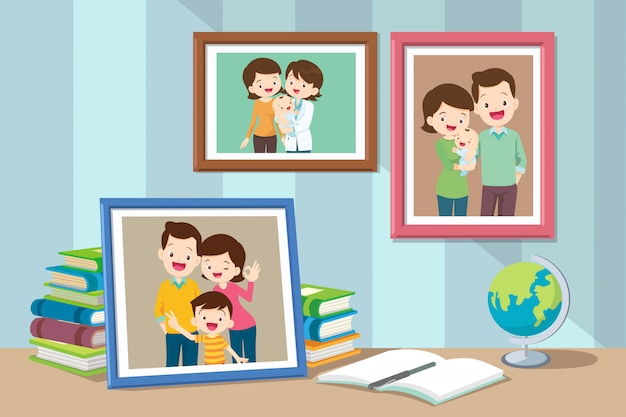 Família e filho foto no quadro