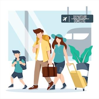 Família e filhos com mala e bagagem no terminal do aeroporto voam juntos de férias