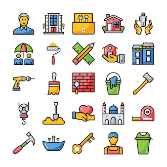 Família e ícones de casa plana
