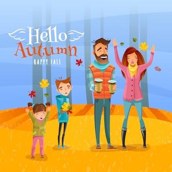 Família e ilustração da temporada de outono