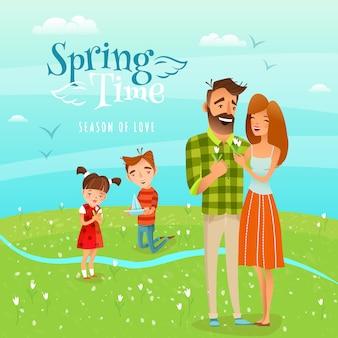 Família e ilustração de primavera de temporada