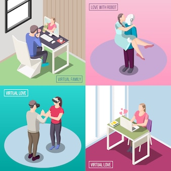 Família eletrônica amor humano relação robô e humano