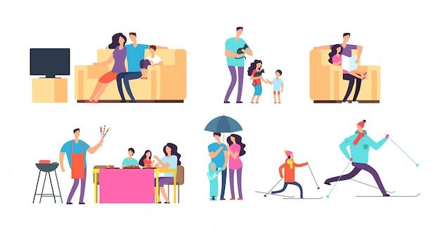 Família em atividades diárias. mãe, pai e filhos a passar tempo juntos em casa e ao ar livre.