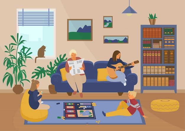 Família em casa. crianças jogando jogo de tabuleiro, avó lendo jornal, mãe tocando violão. interior da sala de estar. atividades caseiras. conceito.